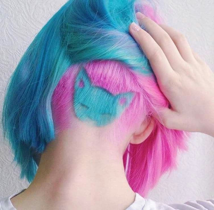 Pink Blue Aqua Kitty Cat Undercut Hair | Hair Styles, Cool intended for Best and Newest Aqua Green Undercut Hairstyles