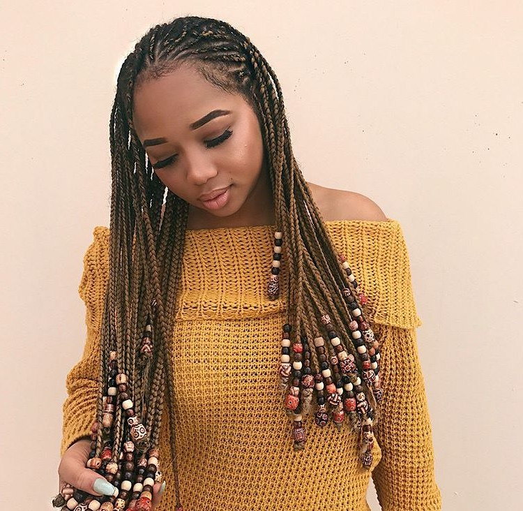 Pinterest: Evaballoo? | Braided Hairstyles, Braids For Within Current Beaded Plaits Braids Hairstyles (View 2 of 25)