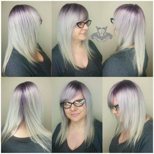 Platinum Blonde With Shadow Roots With Bangs | Hair Styles With Regard To 2018 Long Undercut Hairstyles With Shadow Root (View 2 of 25)