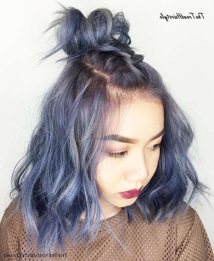 Ravishing Smoky Purple Ombre – 30 Modern Asian Girls Inside Best And Newest Modern Braided Top Knot Hairstyles (View 19 of 25)