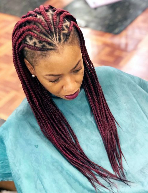 Red Box Braids ||25 Fabulous Braided Hairstyles Ideas Throughout Most Current Side Shaved Cornrows Braids Hairstyles (View 12 of 25)