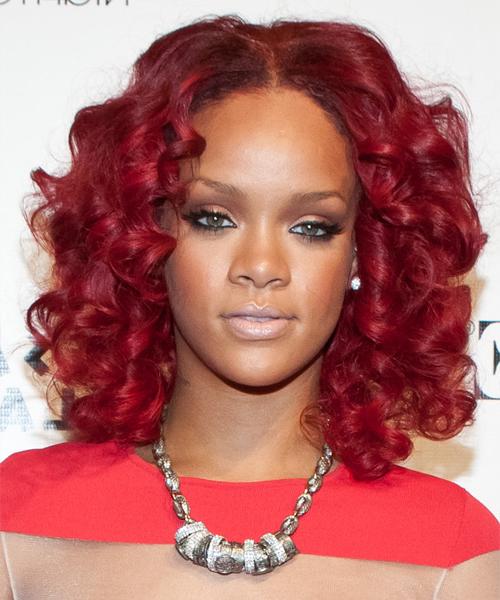 Rihanna Medium Curly Layered Bright Red Bob Haircut Within Bright Red Bob Hairstyles (View 19 of 25)