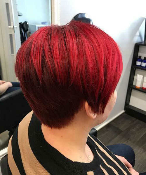 Romantic Teel Red Hair Color On Short Layered Hair For Women Within Latest Pageboy Maroon Red Pixie Haircuts (View 15 of 25)