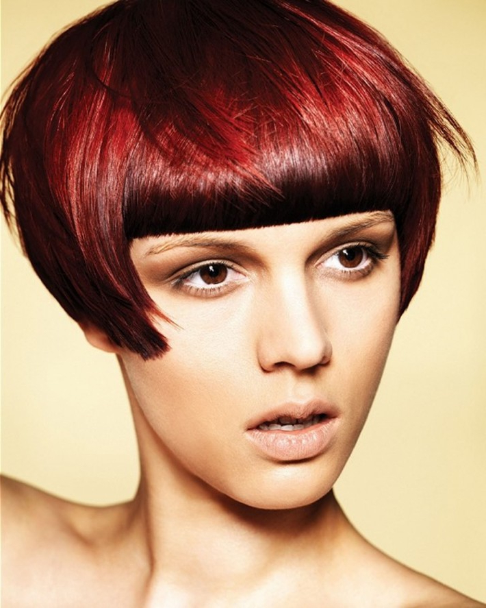 Short Dark Red Hair With Straight Fringe | Hairstyles | Hair With Current Pageboy Maroon Red Pixie Haircuts (View 9 of 25)