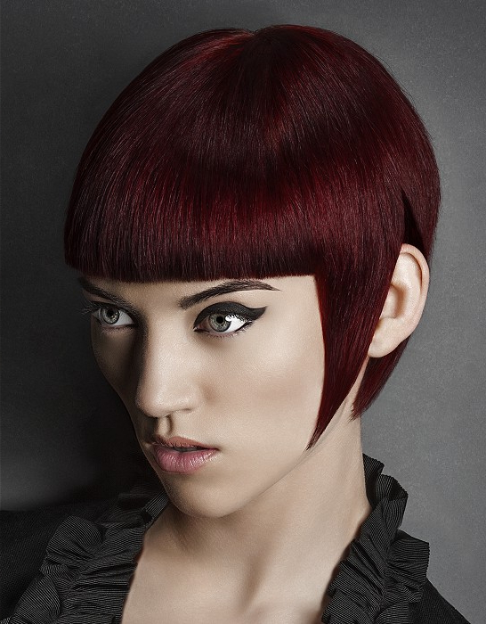 Short, Dark Red Haircut With Regular Bangs | Hairstyles Regarding Newest Pageboy Maroon Red Pixie Haircuts (View 11 of 25)