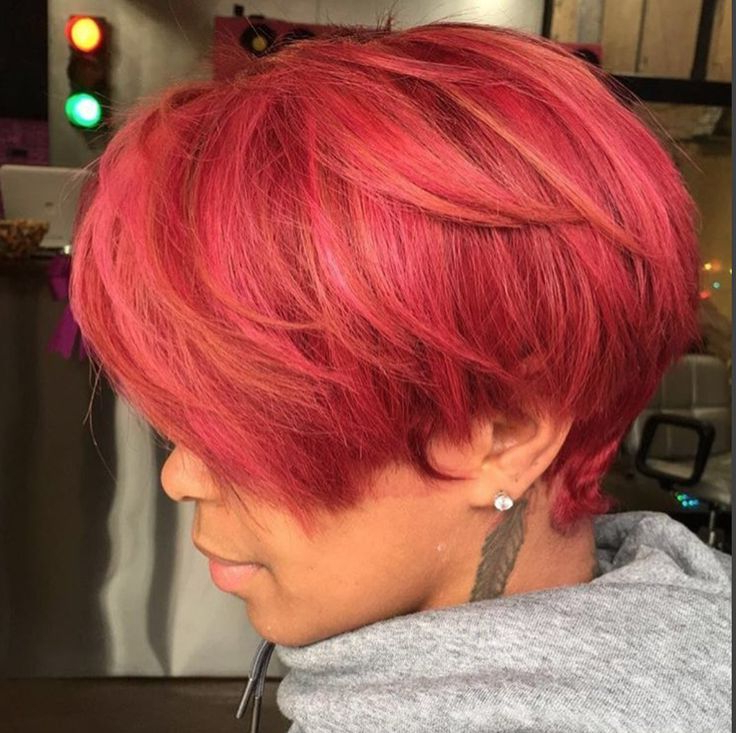 Short Haircuts: Beautiful Color Via @kellzatlstylist Read With Regard To Most Up To Date Pageboy Maroon Red Pixie Haircuts (View 17 of 25)