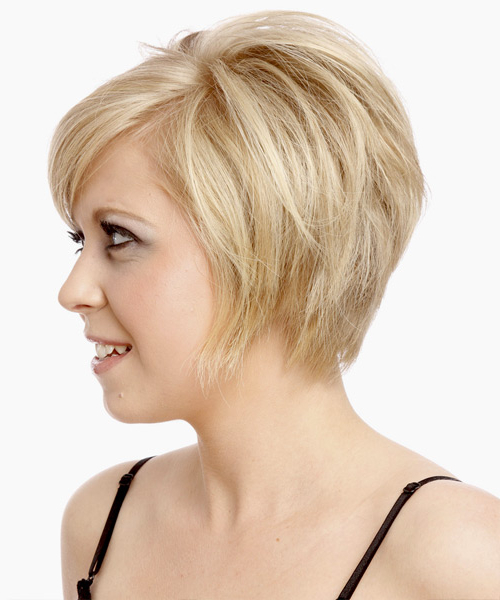 Short Straight Platinum Hairstyle With Side Swept Bangs For Short Feathered Bob Crop Hairstyles (View 23 of 25)