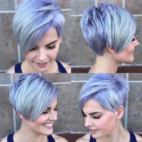 Silver Asymmetrical Pixie With Side Swept Bangs And Purple In Latest Silver Pixie Haircuts With Side Swept Bangs (View 4 of 25)