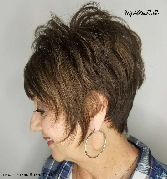 Spiky Pixie With Long Face Framing Pieces – 20 Best Short Regarding Short Feathered Bob Crop Hairstyles (View 9 of 25)