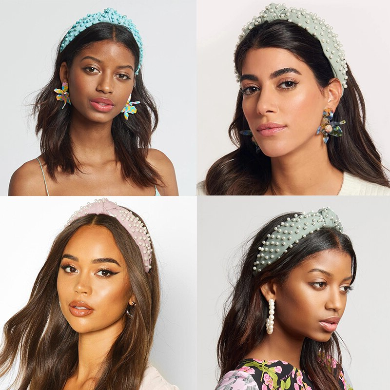 Super Promo #6249D – Levao Pearl Embellished Knot Headband With Most Recent Hoop Embellished Braids Hairstyles (View 14 of 25)