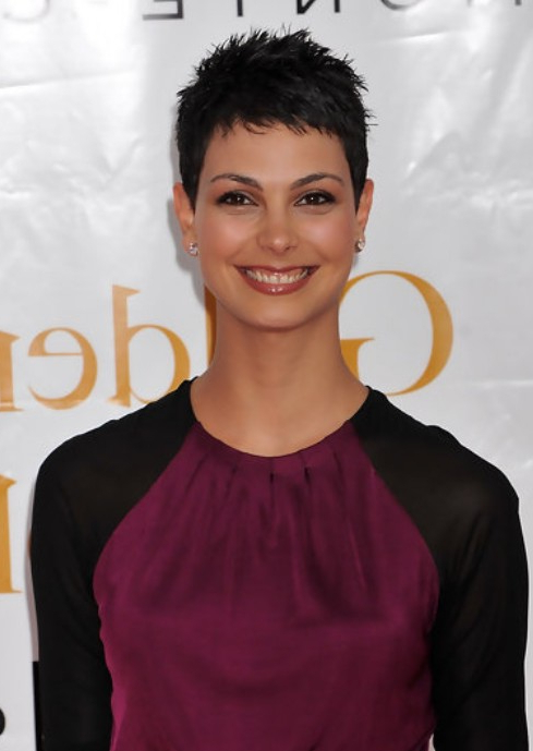 Super Short Chic Pixie Haircuts Morena Baccarin Tousled Throughout Most Current Morena Pixie Haircuts With Bangs (View 22 of 25)