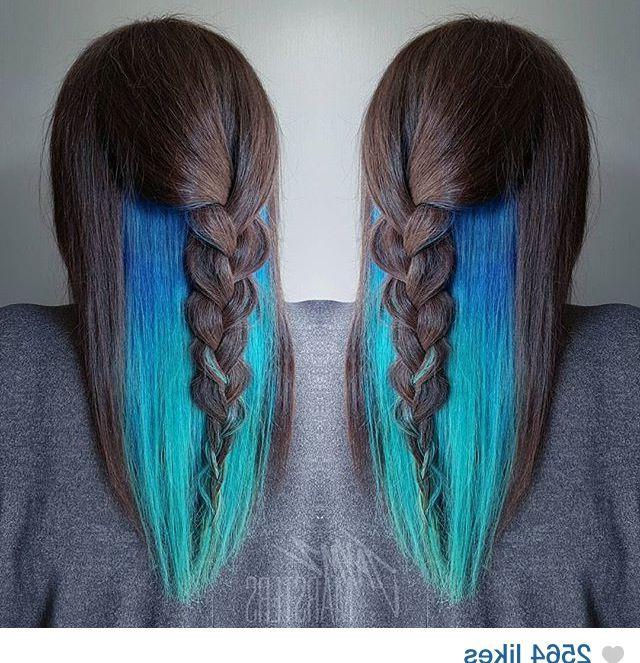 Teal/turquoise Waterfall Mermaid Peekaboo Hair Color Regarding Current Peek A Boo Braid Hairstyles (View 19 of 25)