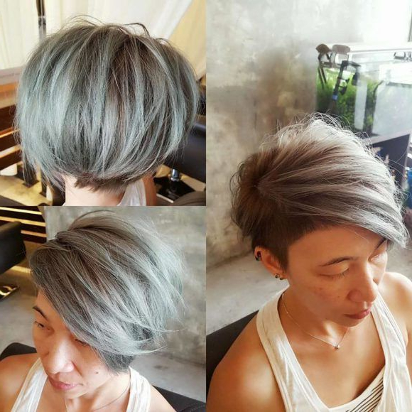 Textured Side Swept Undercut Pixie With Fringe And Silver Intended For Latest Silver Pixie Haircuts With Side Swept Bangs (View 2 of 25)