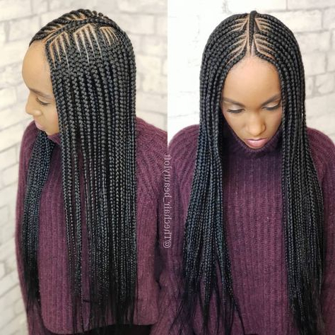 """The Chair On Instagram: """"Center Part Small Feedin Inside Most Recently Center Part Braid Hairstyles (View 3 of 25)"""