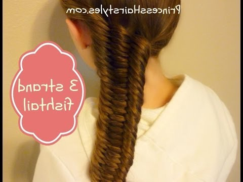 Three (3) Strand Fishtail Braid Tutorial – Youtube Intended For Recent Three Strand Pigtails Braid Hairstyles (View 25 of 25)