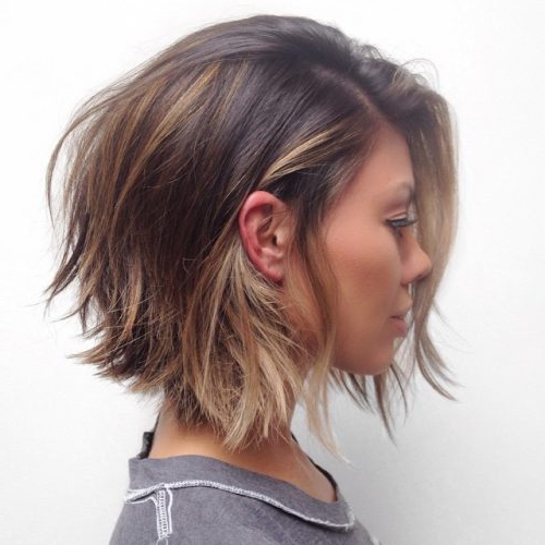 Top 17 Layered Bob Haircuts (2020 Pictures) With Most Popular Shattered Choppy Bangs Pixie Haircuts (View 16 of 25)