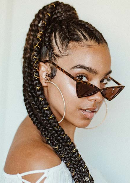 Top Braided Ponytail Hairstyles 2019 For Black Women With Regard To Most Current Cornrow Fishtail Side Braid Hairstyles (View 14 of 25)