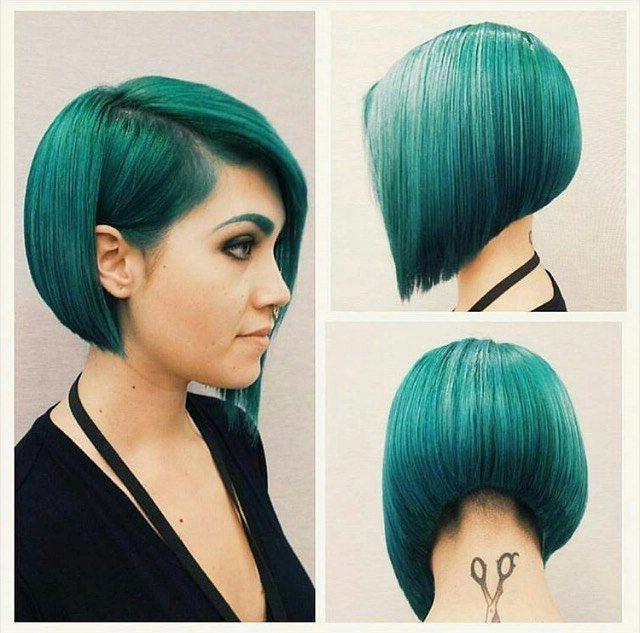 Turquoise Bob #hair #beauty #hairdare | Hair Ideas | Hair Inside 2018 Aqua Green Undercut Hairstyles (View 2 of 25)