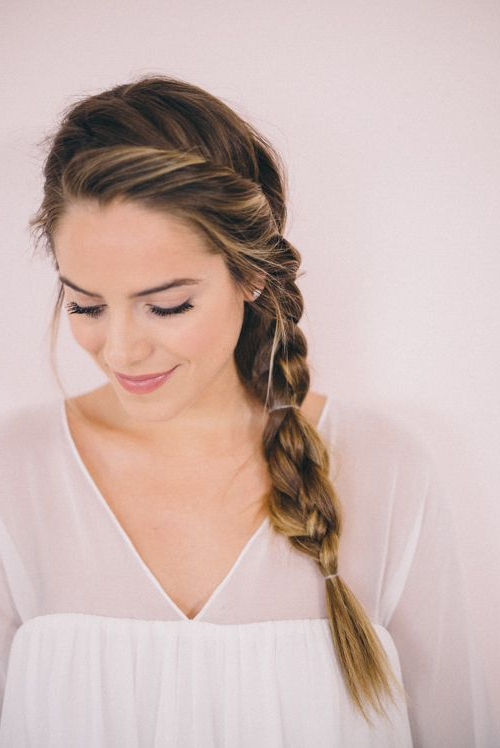 Twisted Side Braid Tutorial | Braided Hairstyles For Wedding Inside Recent Three Strand Long Side Braid Hairstyles (View 3 of 25)
