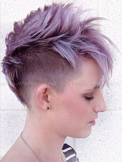 Undercut+Hairstyles+For+Women+ +Faux+Hawk+Undercut+Hairstyle For Most Current Faux Hawk Fade Haircuts With Purple Highlights (View 6 of 25)