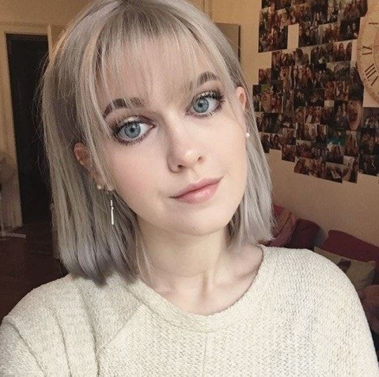 Woman With A Silver Bob With Wispy Bangs | Short Hair With Intended For Wispy Bob Hairstyles With Long Bangs (View 6 of 25)