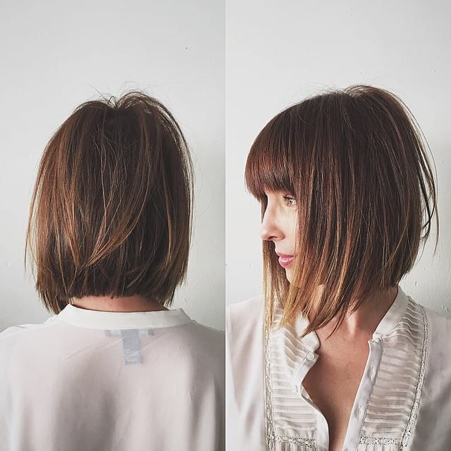 Women's Chic Razor Cut Bob With Bangs And Undone Straight Pertaining To 2018 Razor Haircuts With Long Bangs (View 7 of 25)