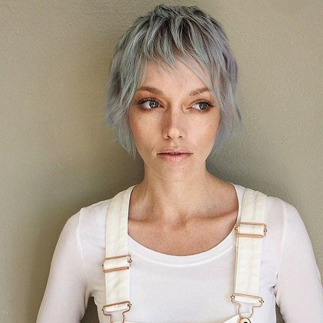 Women's Long Silver Shaggy Pixie Cut With Choppy Bangs For Most Recently Choppy Pixie Haircuts With Short Bangs (View 19 of 25)