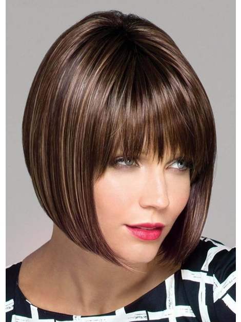Women's Medium Bob Hairstyles Natural Looking Straight Synthetic Hair Lace  Front Wigs 14Inch Inside Natural Bob Hairstyles (View 18 of 25)