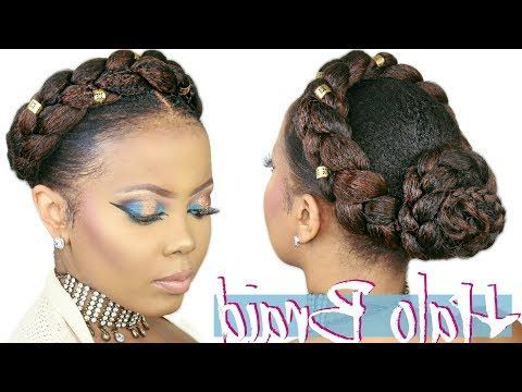 Youtube   Natural Hair Styles, Braided Hairstyles, Halo Inside 2020 Updo Halo Braid Hairstyles (View 4 of 25)