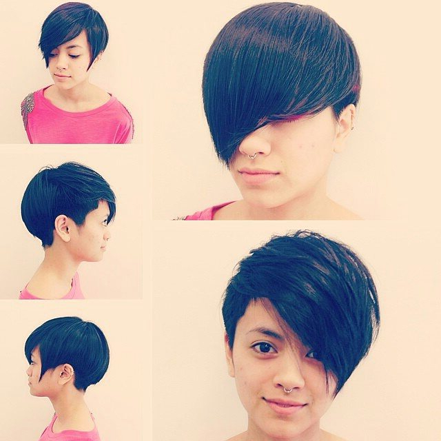 20 Gorgeous Short Pixie Haircuts With Bangs 2021 Inside Recent Asymmetrical Feathered Bangs Hairstyles With Short Hair (View 10 of 25)