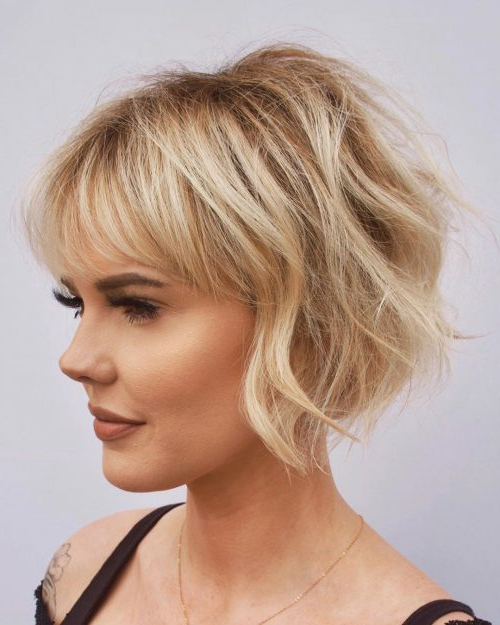 45 Best Short Hairstyles For Thin Hair To Look Cute With Best And Newest Asymmetrical Feathered Bangs Hairstyles With Short Hair (View 12 of 25)