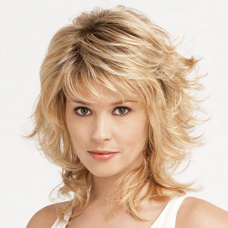 European And American Wig Lady Oblique Bangs Short Curly Hair Golden Realistic Chemical Fiber Wig Throughout 2018 Oblique Feathered Bangs And A Pixie Cut Hairstyles (View 15 of 25)