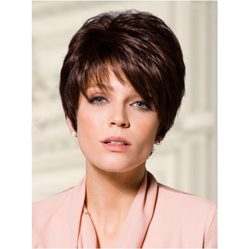 Medusa Hair Products: Chic Short Pixie Cut Styles Brown Wig Throughout Current Oblique Feathered Bangs And A Pixie Cut Hairstyles (View 18 of 25)