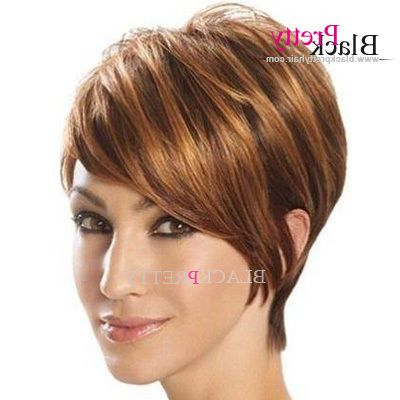 Pin On Fashion Women Wigs Wholesale With Best And Newest Oblique Feathered Bangs And A Pixie Cut Hairstyles (View 16 of 25)