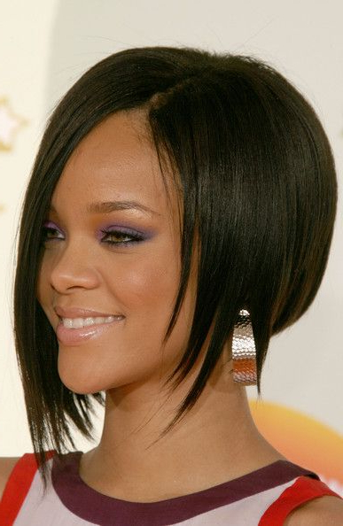 Rihanna Sterling Hoops | Womens Hairstyles, Asymmetrical Regarding Most Popular Asymmetrical Feathered Bangs Hairstyles With Short Hair (View 2 of 25)