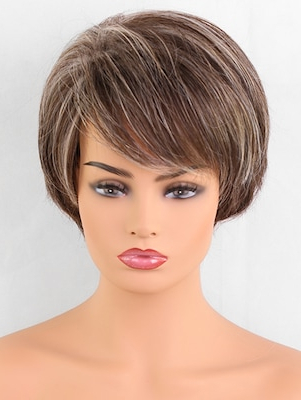 Short Oblique Fringe Straight Colormix Synthetic Wig In Best And Newest Oblique Feathered Bangs And A Pixie Cut Hairstyles (View 23 of 25)