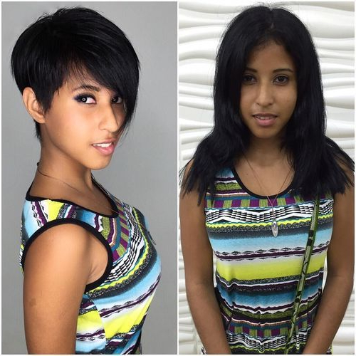 Stylish Black Pixie With Long Oblique Fringe | Short Within Most Recent Oblique Feathered Bangs And A Pixie Cut Hairstyles (View 9 of 25)