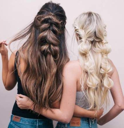 44 Ideas Braids Hairstyles Ponytail Half Up #Hairstyles # With Most Popular Loose Highlighted Half Do Hairstyles (View 2 of 25)
