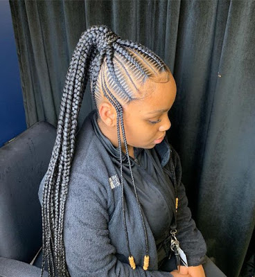 45+ Skinny Feed In Braids Ponytail For Women With Black Within Latest Pancaked Side Braid Hairstyles (View 11 of 25)