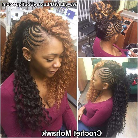 49 Ideas Braids With Weave Mohawk For 2019   Braids With Inside Latest Pouf Braided Mohawk Hairstyles (View 22 of 25)