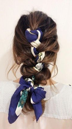 Blue Silk Scarf – Knotted Scarf – Braid Inspiration With Most Popular Knotted Braided Updo Hairstyles (View 17 of 25)