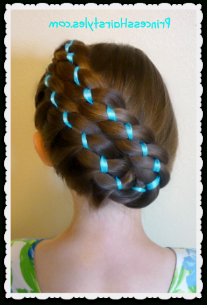 Easter Hairstyles – Diagonal Stacked Ribbon Braid Updo Throughout Current Folded Braided Updo Hairstyles (View 9 of 25)