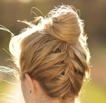 Easy Way To Keep Up All The Fly A Ways Braid With Top Knot With Regard To Most Recent Braided Top Knot Hairstyles (View 6 of 25)