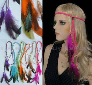 Feather 70S 80S Disco Plaited Braided Head Band Neon Boho For Best And Newest Hippie Braid Headband Hairstyles (View 2 of 25)