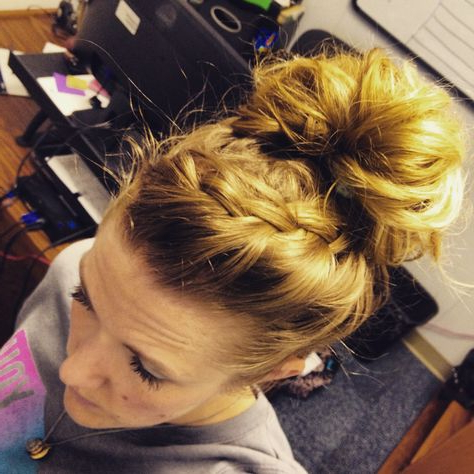 French Braid Into A Top Knot   Hair Styles, Top Knot, Hair With Newest Braided Top Knot Hairstyles (View 8 of 25)