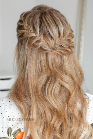 Half Up Double Fishtail French Braids | Missy Sue With Regard To Most Current Double Braided Single Fishtail Braid Hairstyles (View 15 of 25)