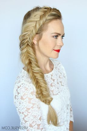 How To Dutch Fishtail Braid | Side Braid Hairstyles Pertaining To Newest Double Braided Single Fishtail Braid Hairstyles (View 7 of 25)