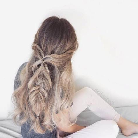 Loose Fishtail Half Up | Hair Styles, Beautiful Hair With Most Up To Date Loose Highlighted Half Do Hairstyles (View 10 of 25)