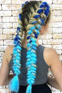 @Mekosmanes ? Blue Kanekalon Hair Extension In Dutch With Most Recently Double Rose Braids Hairstyles (View 20 of 25)