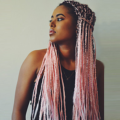 Pink Synthetic Hair 24 Inch Women'S Ombre Hair / Middle With Best And Newest Double Rose Braids Hairstyles (View 19 of 25)